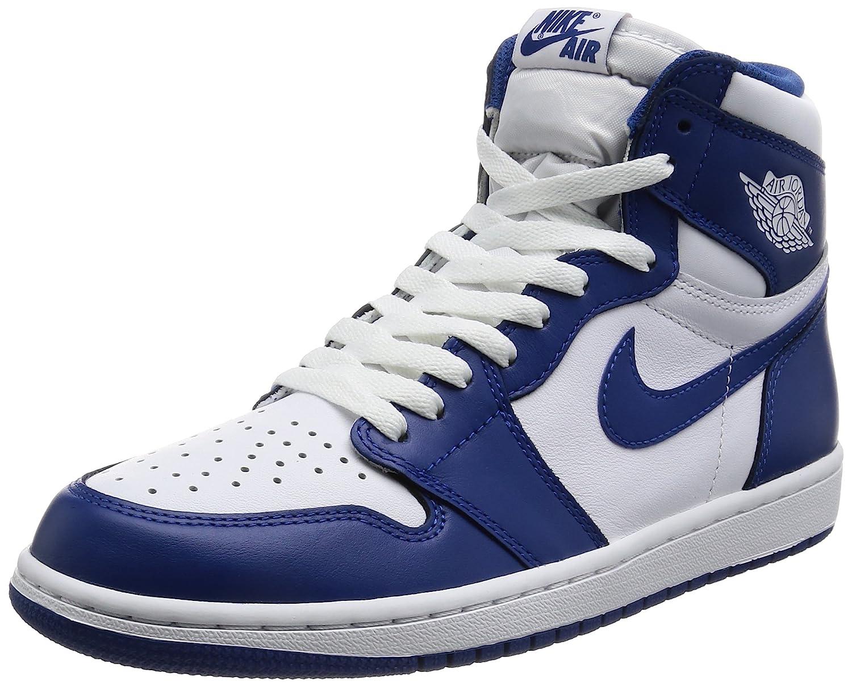 cheap for discount 04e25 2870a Jordan Nike Men's Air 1 Retro High OG White/Storm Blue 555088-127 (Size:  9.5)