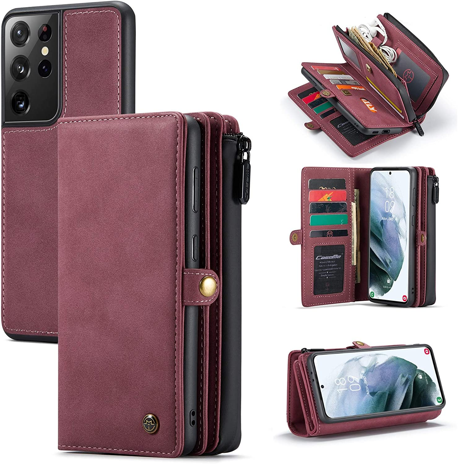 Samsung S21 Series Leather Magnetic Detachable Leather Wallet Case with Card Slots S21  S21 Plus  S21 Ultra Snap On Protective Back Cover
