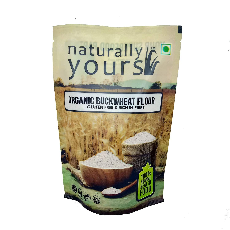 Naturally Yours (Mumbai) harina de trigo sarraceno orgánica, sin gluten, certificado por USDA orgánico, rico en fibra, sabrosa y saludable mezcla de harina de roti indio – 14.11 oz cada uno