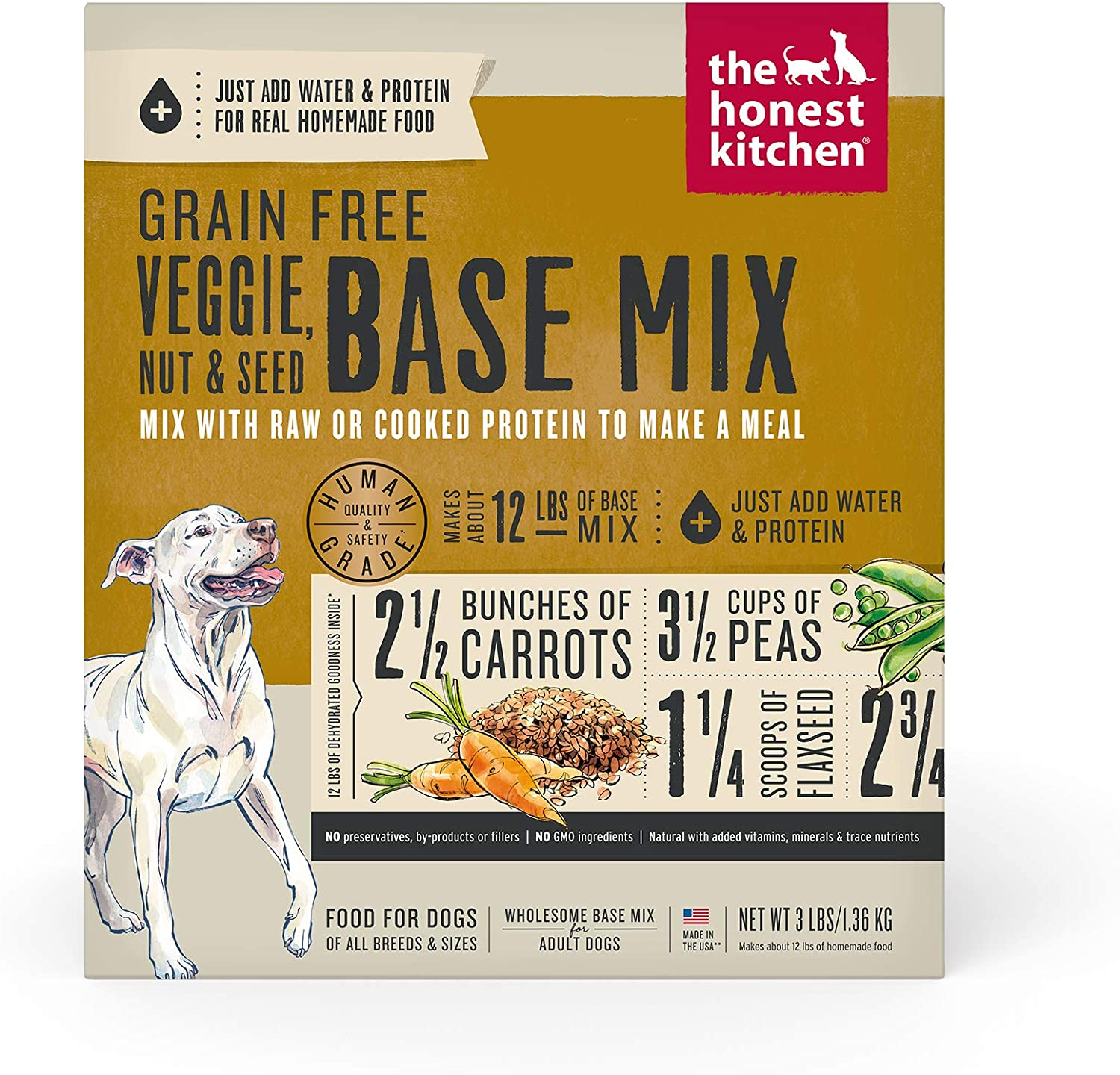The Honest Kitchen Human Grade Dehydrated Wholesome Base Mix for Dogs - Organic Whole Grain and Grain Free Recipes