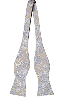 Pre Corbata De Lazo Atado - Metálico Sarga De Color Beige, Grandes Flores Blancas Y Azules Muesca