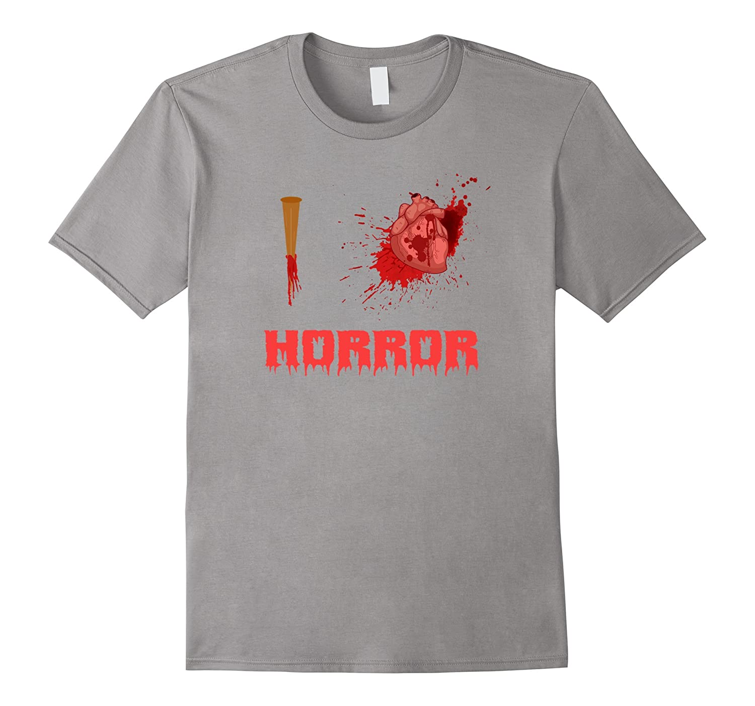 I Love Horror Bloody Stake Heart Halloween T-Shirt-TJ