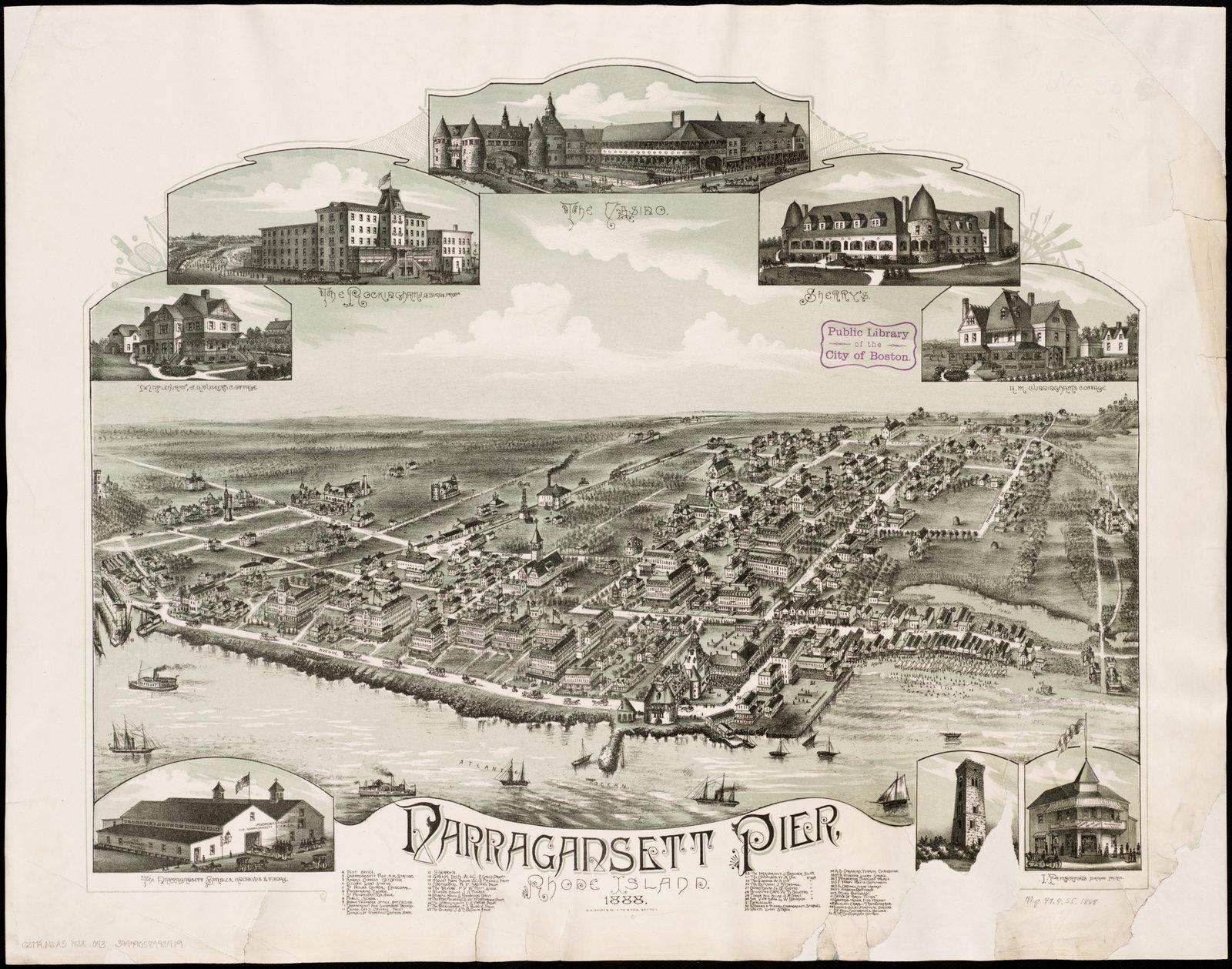 Historic Map | Narragansett Pier, Rhode Island : 1888 | Antique Vintage Reproduction