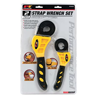 """Performance Tool W54059 3/8"""" to 6-1/2"""" 2-Piece Strap Wrench Set - Adjustable Wrenches - .com"""