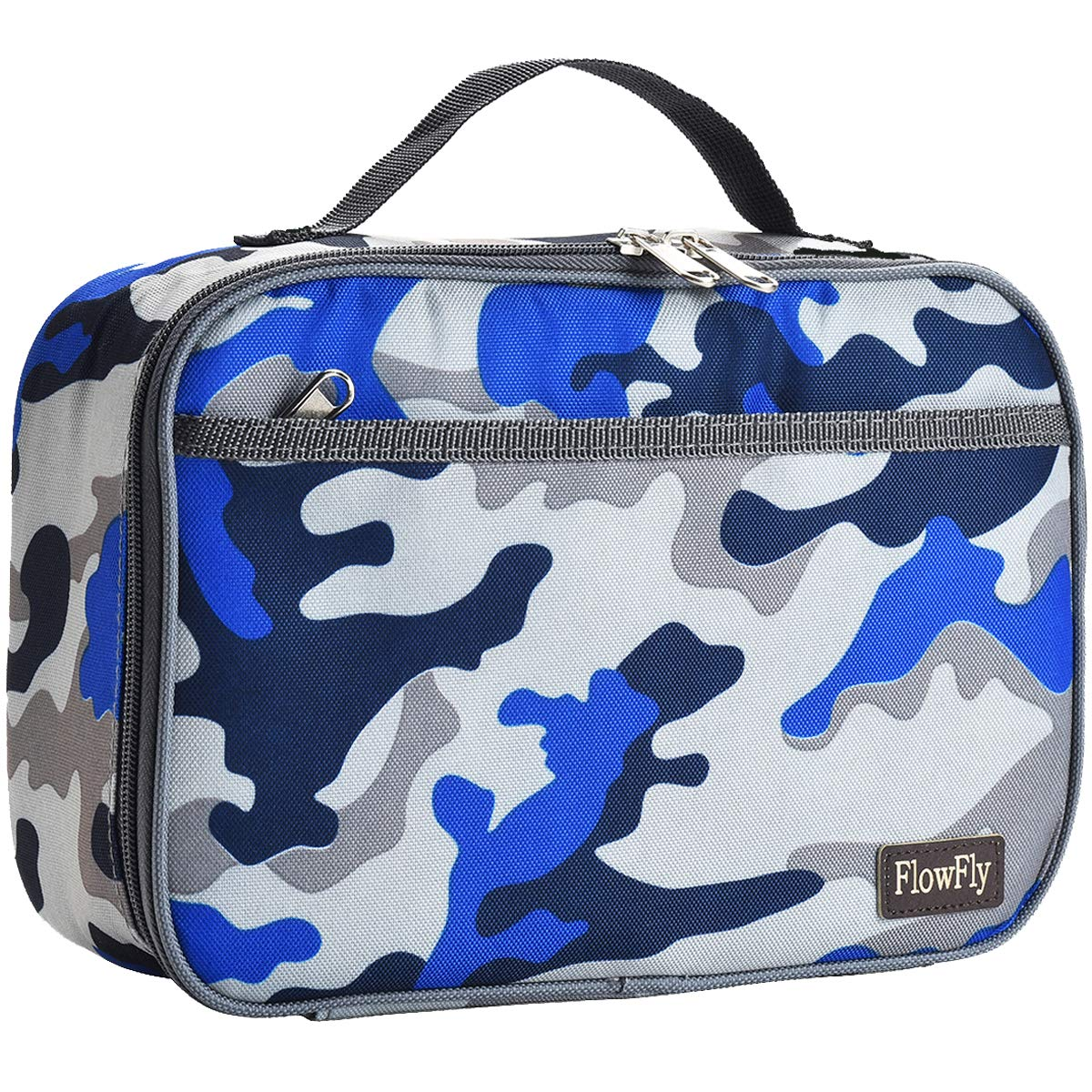 Kids Lunch box Insulated Soft Bag Mini Cooler Thermal Meal Tote Kit with Handle and Pocket for Girls, Boys by FlowFly,Blue Camo by FlowFly