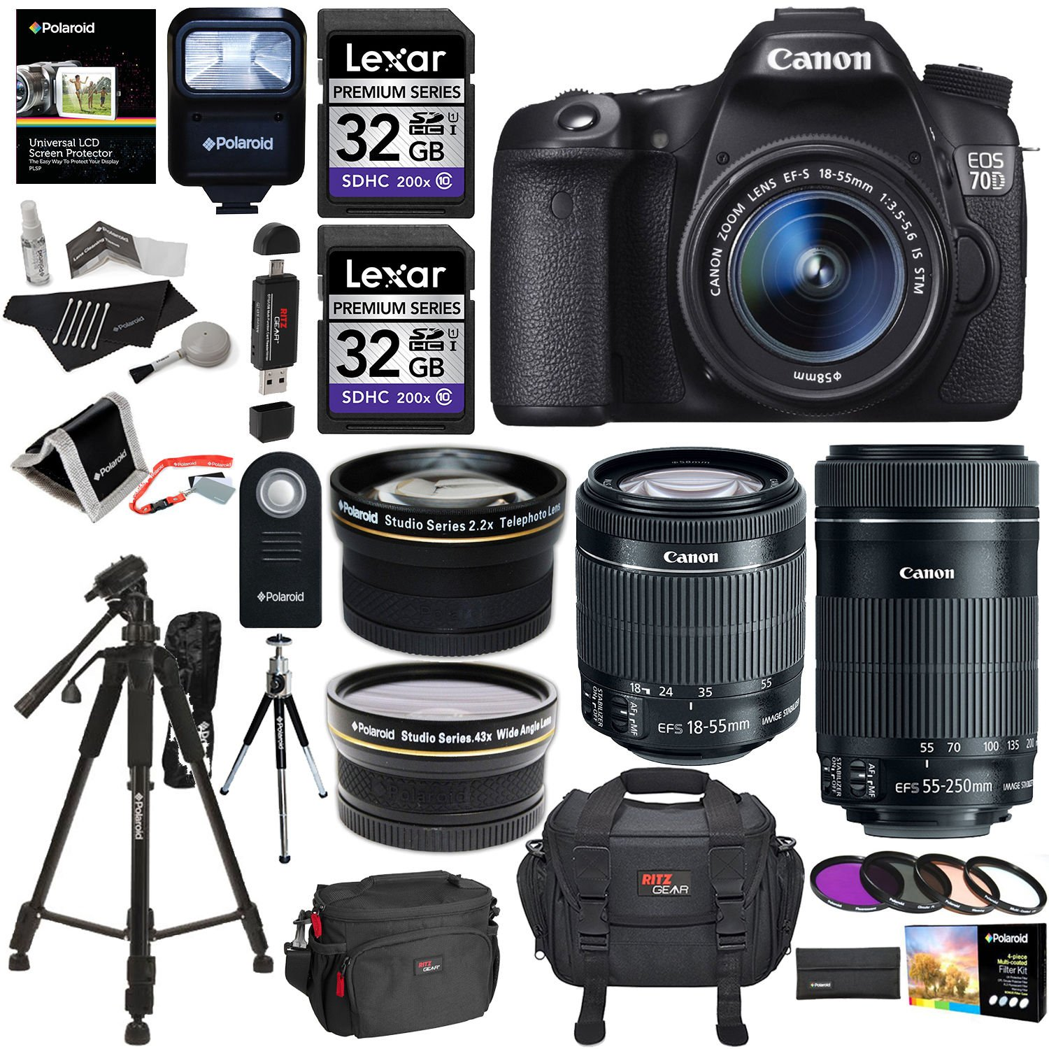 Amazon.com : Canon EOS 70D 20.2 MP AF Full HD 1080p DSLR Camera Bundle with EF-S 18-55mm f/3.5-5.6 IS STM Lens, 55-250mm Image Stabilizer Zoom Lens and Accessory Kit (20 Items)