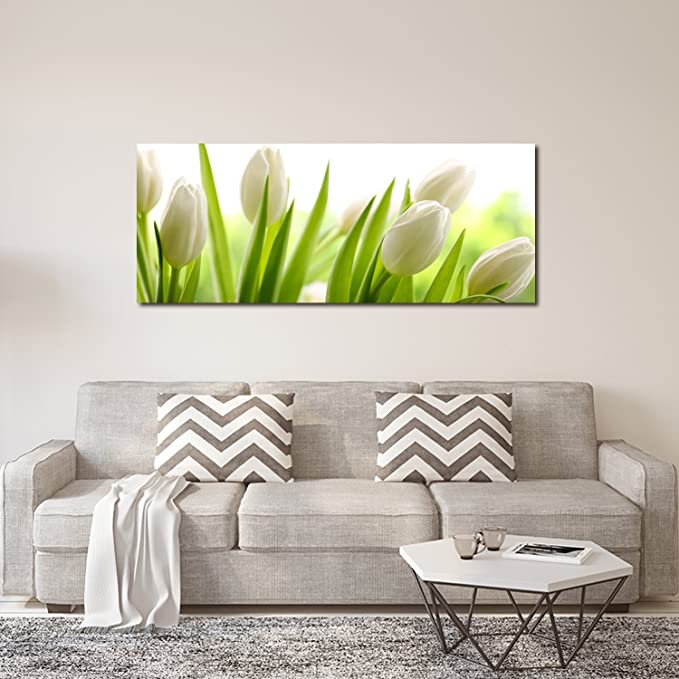 PORTRAITS Real Glass Tulip Wall Picture 125x50/cm Float