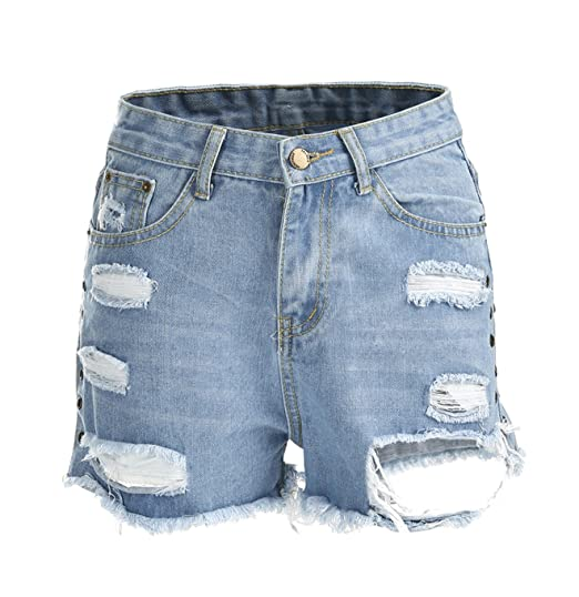 9064e34e31ab YT couple Summer Womens Ladies Vintage High Waist Stretch Ripped Hole Wash  Mini Denim Jeans Beach Shorts Pants at Amazon Women s Clothing store
