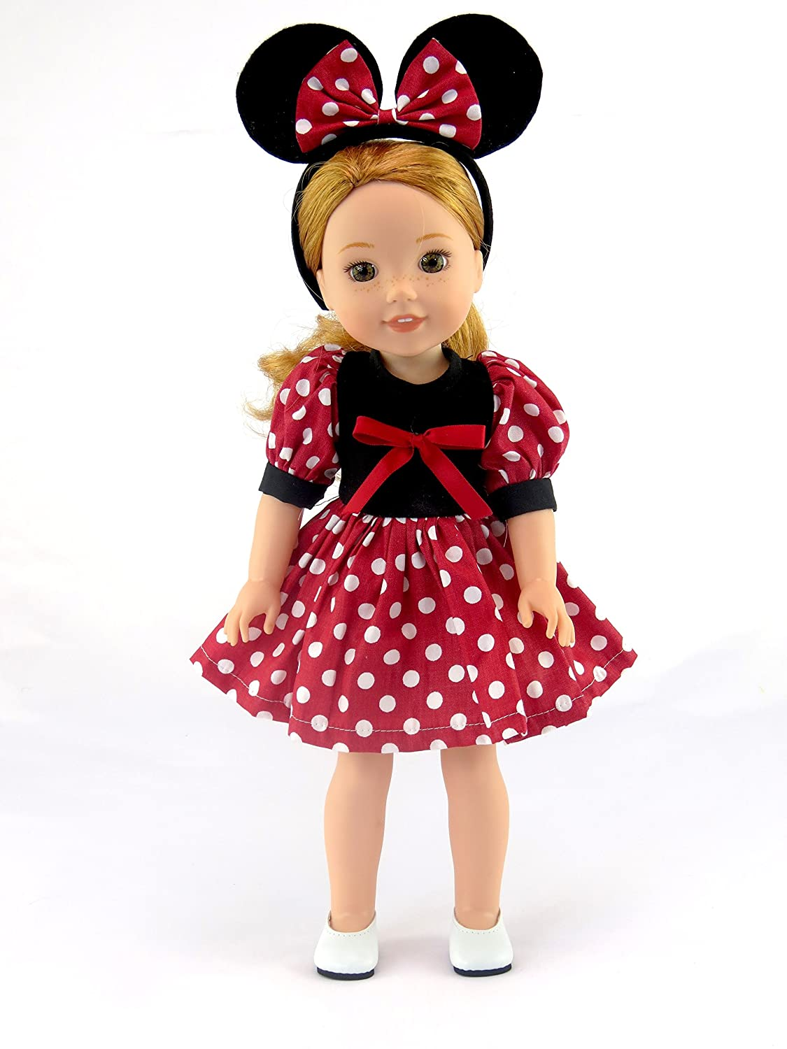 American Fashion World Little Mouse Dress -Fits 14 Inch Wellie Wisher Dolls | 14 Inch Doll Clothing