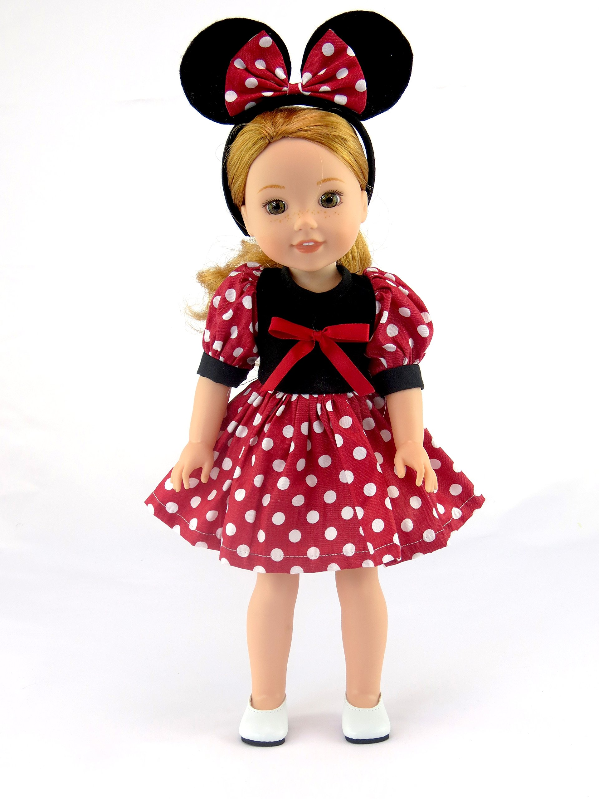 American Fashion World Little Mouse Dress -Fits 14 Inch Wellie Wisher Dolls | 14 Inch Doll Clothing by American Fashion World