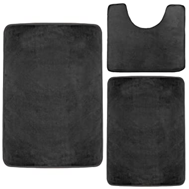 Clara Clark Memory Foam Bath Mat, Ultra Soft Non Slip and Absorbent Bathroom Rug. – Black, Set of 3 - Small/Large/Contour