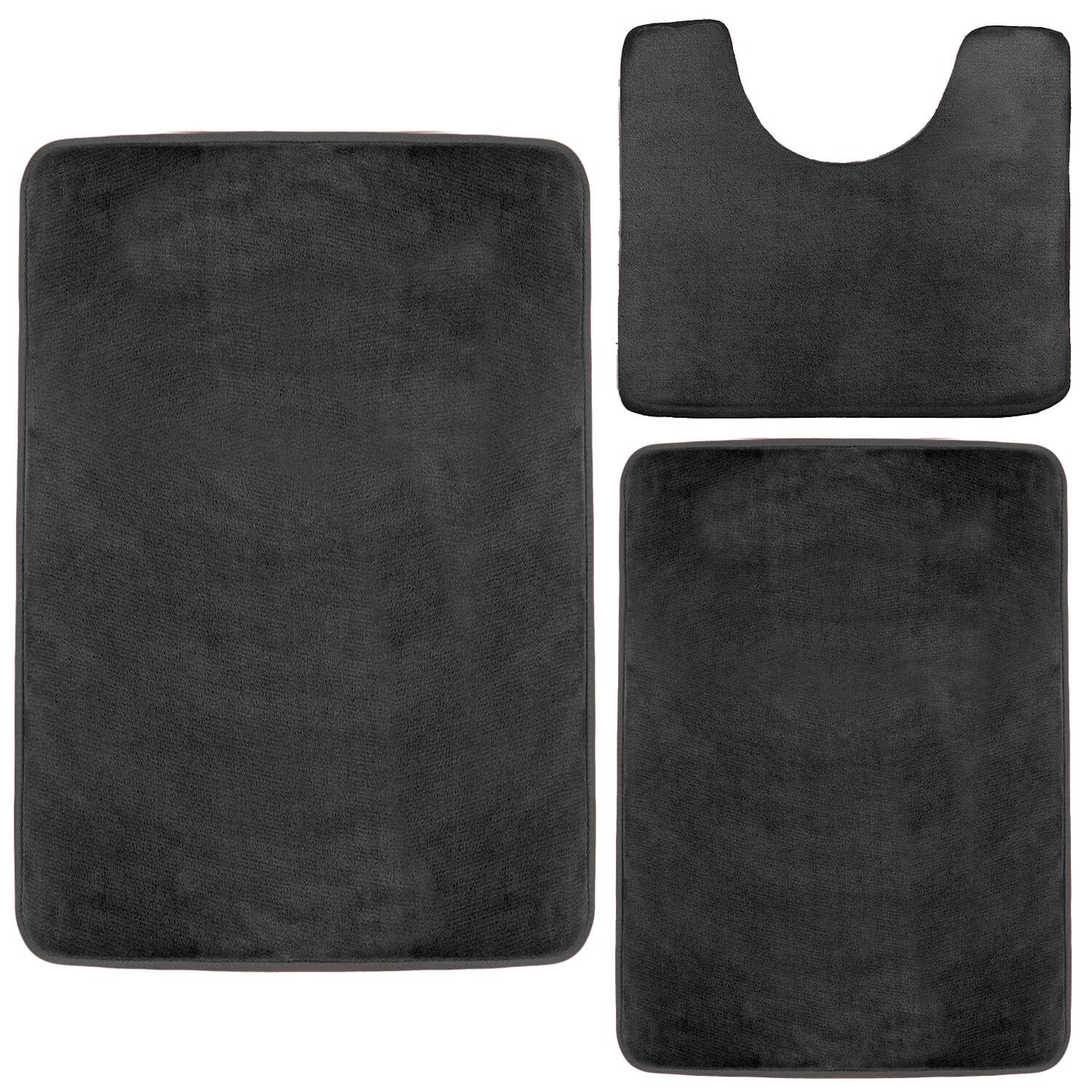 Clara Clark Memory Foam Bath Mat, Ultra Soft Non Slip and Absorbent Bathroom Rug. - Black, Set of 3 - Small/Large/Contour