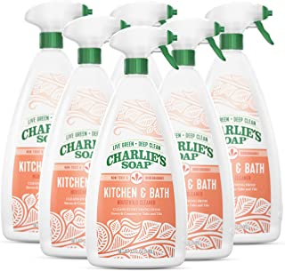 product image for Charlie's Soap Kitchen & Bath Household Cleaner Spray (32 Fl. Oz, 6 Pack) Natural Kitchen and Bathroom Multi-Surface Cleaner – Non-Toxic and Biodegradable