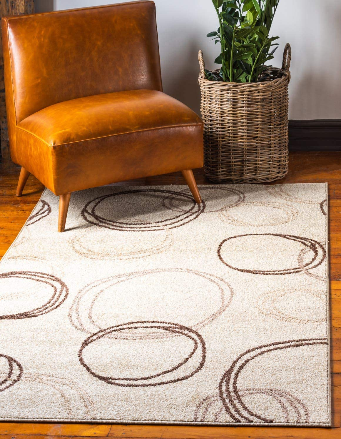 Unique Loom Autumn Collection Casual Circles Warm Toned Beige Area Rug 9 0 x 12 0