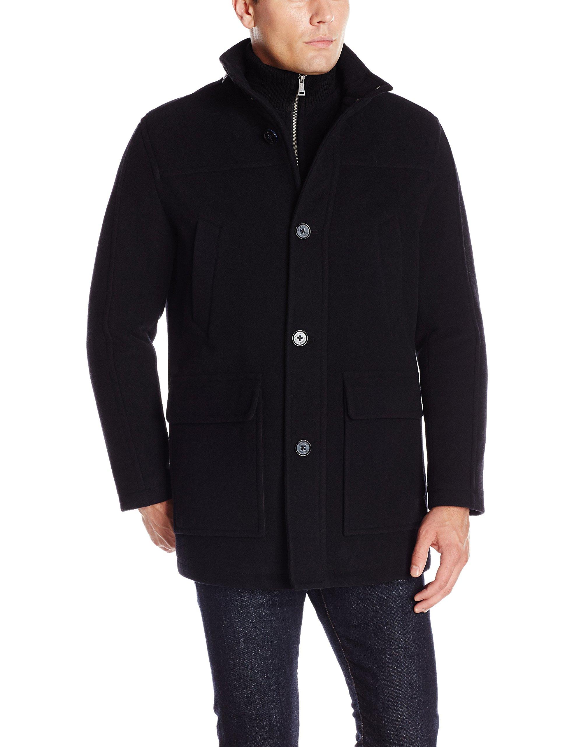 Cole Haan Signature Men's Wool Plush Car Coat with Attached Bib, Black, Medium by Cole Haan Signature