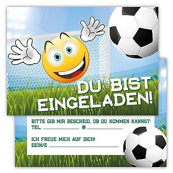 12 Lustige Einladungskarten Im Set Kindergeburtstag Emoji Smiley Fussball  Party Jungen Mädchen Kinder Partyspiele Karten Tor