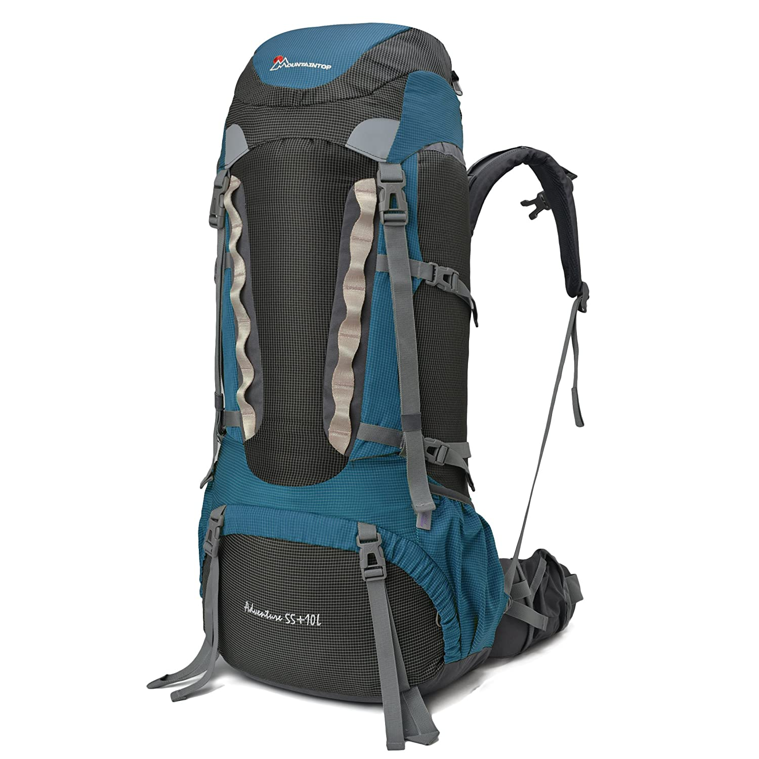 mountaintop 55l10l hiking backpack with rain cover 651i