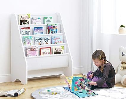 UTEX-Librería Infantil Para Niños Estanteria Libros Infantil 4 Estantes Para Libros Y Fácil De montar,Madera,Blanca