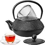 VonShef Tetsubin Teapot Japanese Style Cast Iron Black Hobnail 0.8L/5 Cups