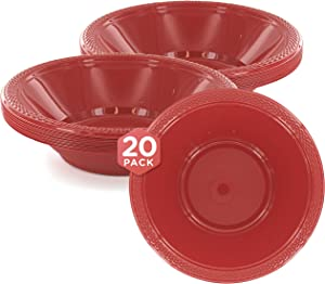 SparkSettings Reusable Plastic Bowls Washable BPA Free Cereal Bowl Perfect for for Salad, Fruit, Dessert, Snack, Small Serving and Mixing Bowls - Apple Red, Pack of 20
