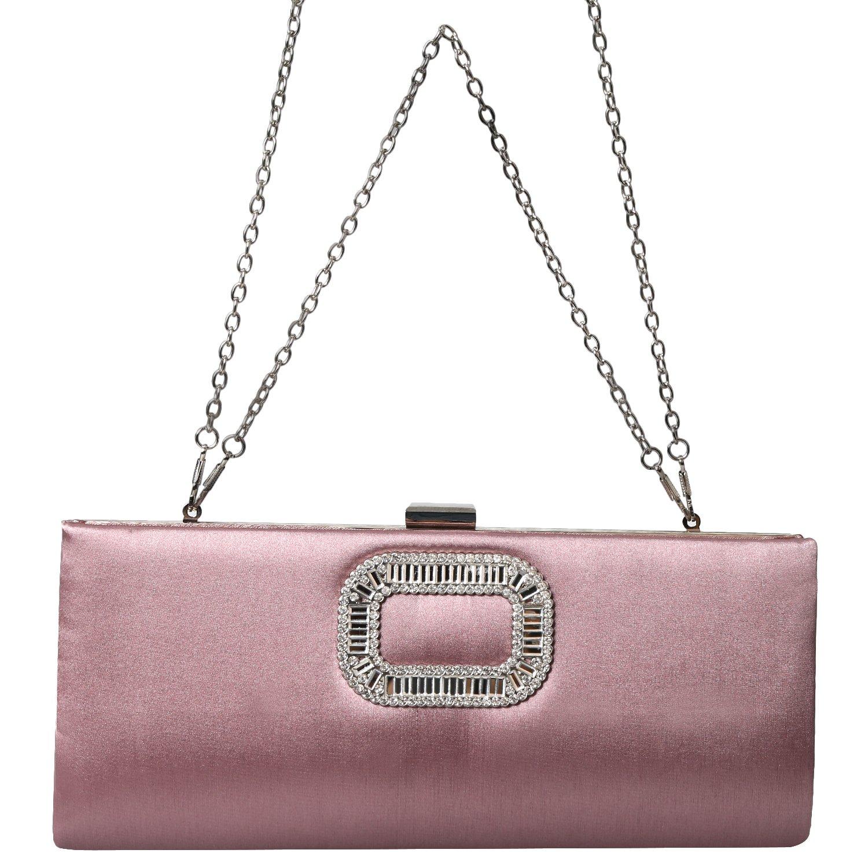 PU Evening Envelope Crystal Rhinestone Evening Clutch Bag Fashion Purse Women Handbags (Incarnadine)