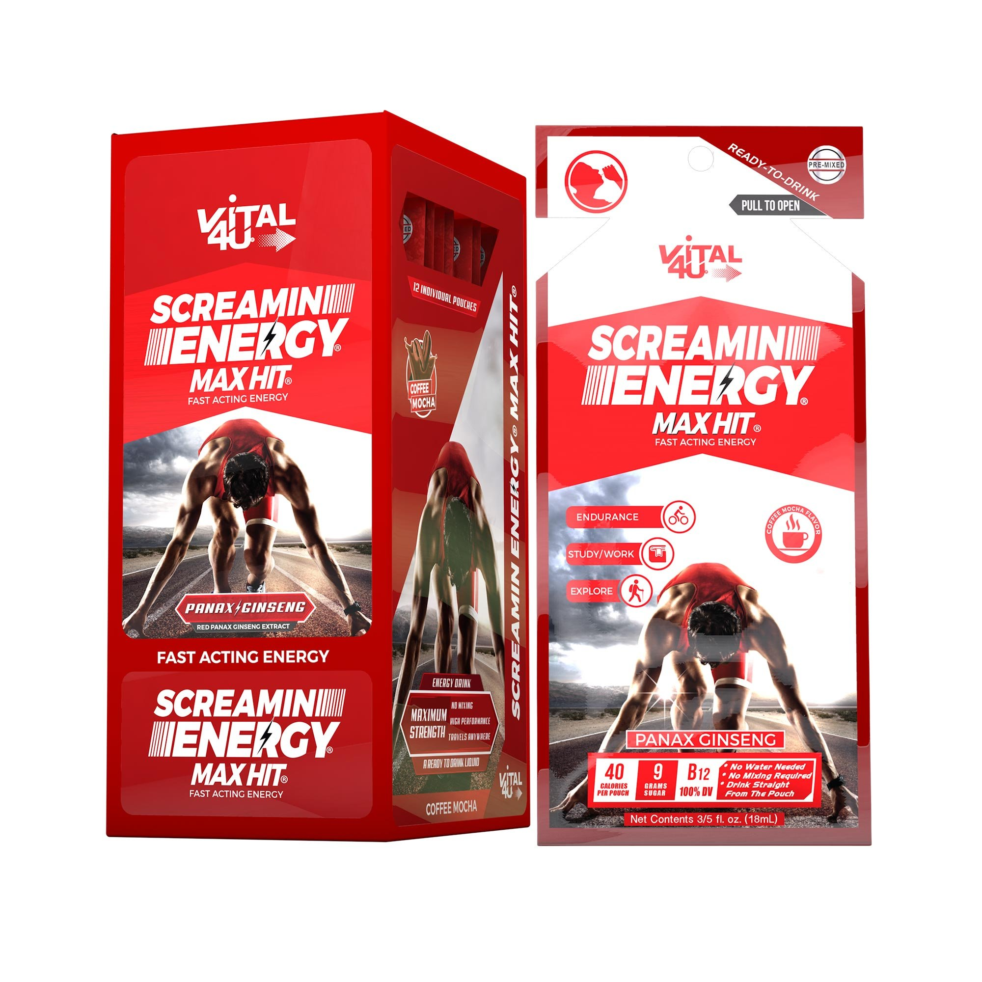 Screamin Energy Max Hit Maximum Strength Energy Drink with Panax Ginseng, Caffeine and Vitamins - Coffee Mocha Flavor, 24 Count by VITAL 4U