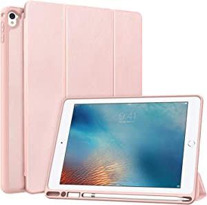 MoKo Case Fit iPad Pro 9.7 with Pencil Holder - Slim Lightweight Smart Shell Stand Cover Case with Auto Wake/Sleep Fit iPad Pro 9.7 Inch 2016 Release (A1673/A1674/A1675) - Rose Gold
