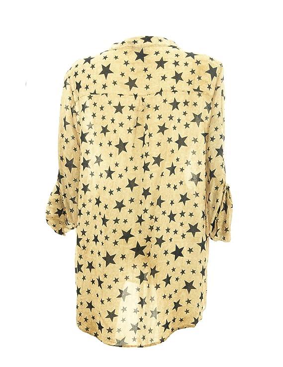 Moda Italy Damen Bluse Fischerhemd mit Sternen Pailletten V-Ausschnitt  Farbverlauf und langen Ärmel mit Knopfriegel Longbluse Hemdbluse  Amazon.de   ... dc5a00e4b6