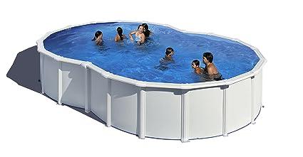 GRE - Piscina ocho modelo VARADERO con pared de acero blanco - 640x390x120: Amazon.es: Jardín