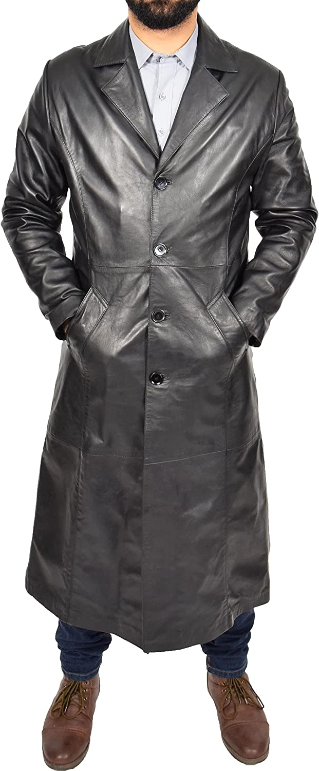 Blade A1 FASHION GOODS Mens Long Leather Coat Full Length Black Leather Trench Mac Crombie Overcoat
