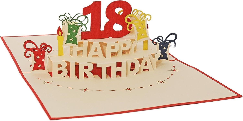 ALTA18B Ein filigranes Kunstwerk Favour Pop Up Gl/ückwunschkarte zum runden 18 das sich beim /Öffnen als Geburtstagstorte entfaltet Geburtstag