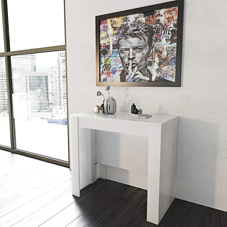 Eglemtek Tavolo Consolle Allungabile Oslo Fino A 2 37 Metri Tavolo 10 Posti Salvaspazio Multiposizione Design Moderno Ed Elegante Consolle Per Casa E Ufficio 78 X 51 X 90 Cm Colore Bianco Lucido