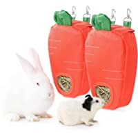 JanYoo Rabbit Hay Feeder Bag for Guinea Pigs Cage Accessories Toys Hay Dispenser Storage Manger Hanging Large No Mess