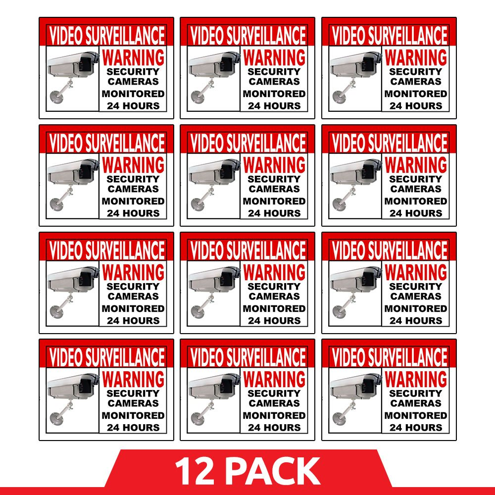 Best Home and Business Security Camera & Video Surveillance Sticker for Indoor/Outdoor Use Long Lasting Weather Proof Window & Door Security 4 x 3'' 12-Pack Stickers with FREE 1yr Warranty Made in USA by Business Basics
