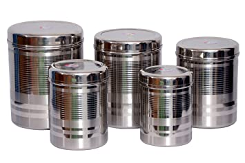 Buy Tactware Stainless Steel Kitchen Storage Canisters Dabba Set Of