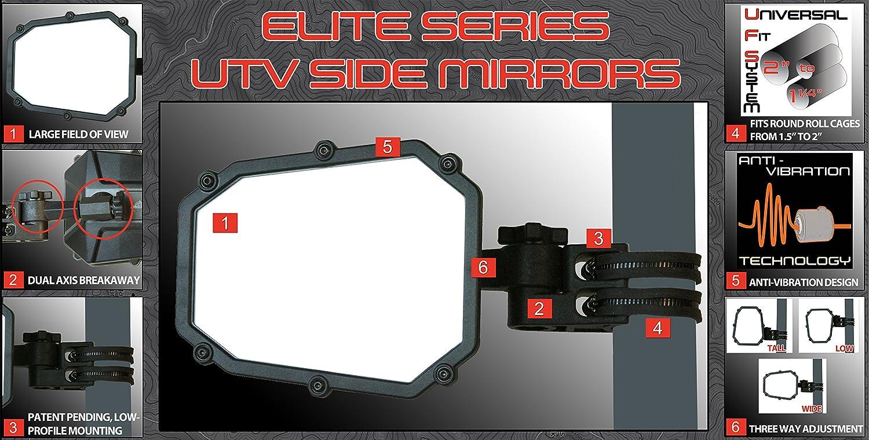 ATV TEK ELITE SIDE MIRROR W//BLIND SPOT AND DUAL BREAKAWAY MOUNT ALL UTV/'S EACH