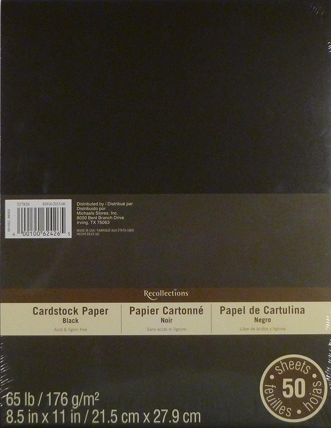 Recollections Cardstock Paper 8.5 x 11-50 Sheets - Black (150)