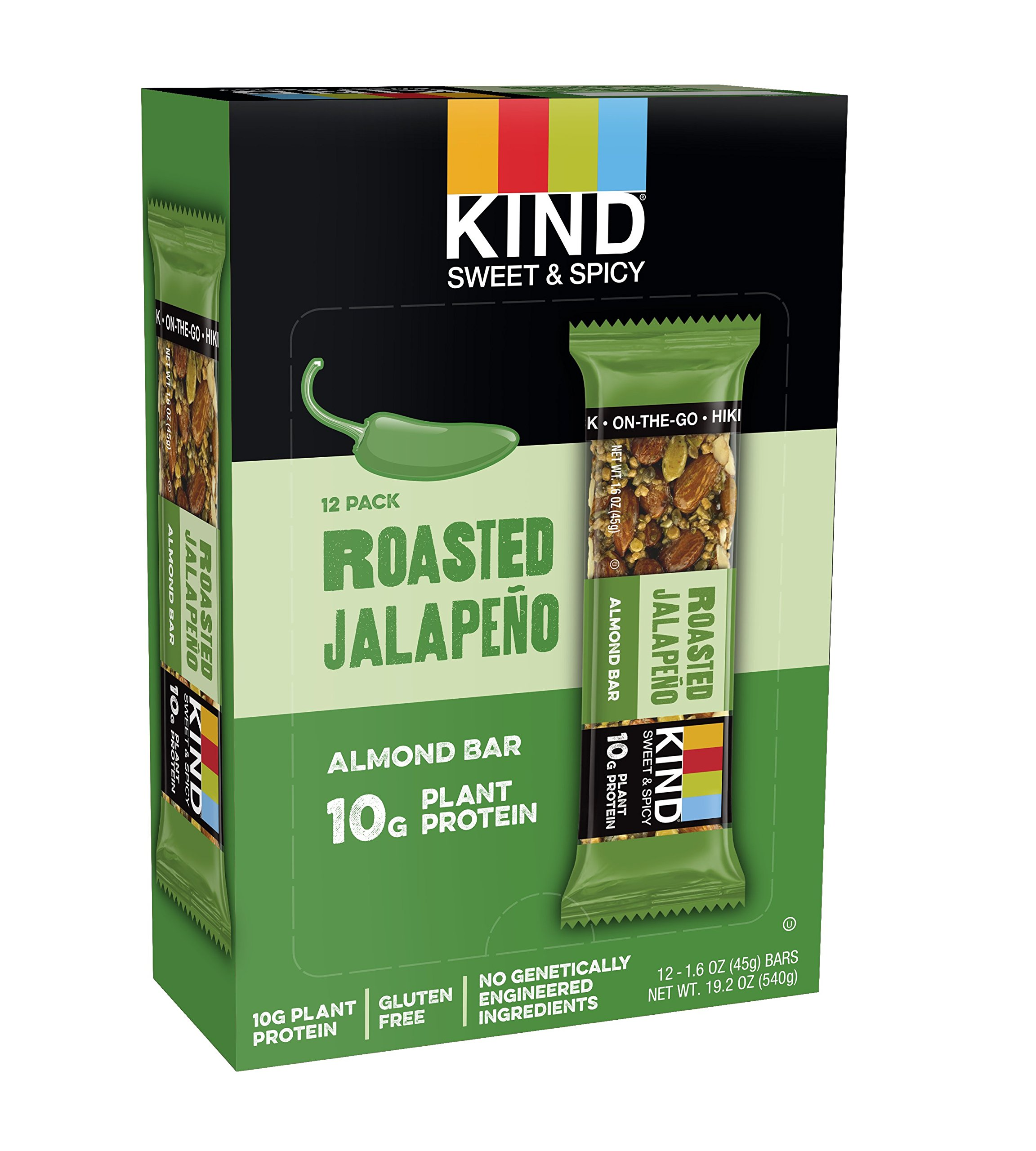 KIND Sweet and Spicy Bars, Roasted Jalapeno, Gluten Free, 10g Plant Protein, 1.6oz, 12 Count by KIND