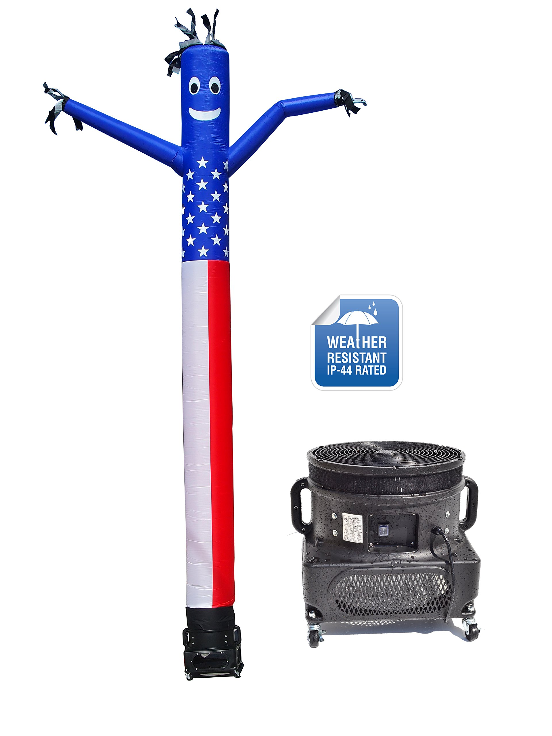 LookOurWay Air Dancers Inflatable Tube Man Complete Set with 1 HP Weather-Resistant Sky Dancer Blower, 20-Feet, American Flag