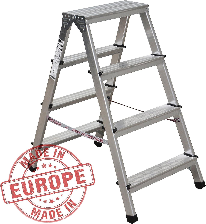 Nawa escabeau double pliant 4 marches aluminium antid/érapant hauteur max 150 Kg accessible des deux c/ôt/és 2 x 4 niveaux charge max Fabriqu/é en Europe
