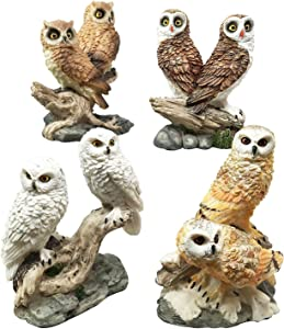 Gifts & Decors Colorful Owl Species Barn Great Horned Snowy & Screech Owls Perching On Branch Figurine Set of 4