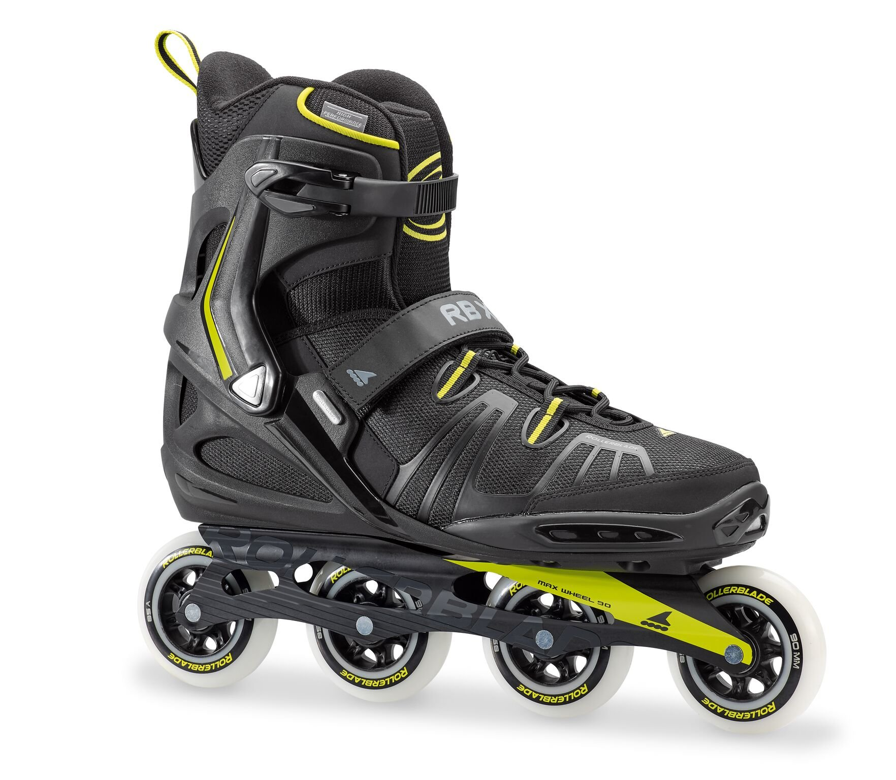 Rollerblade RB XL Men's Adult Fitness Inline Skate, Black and Lime, High Performance Inline Skates by Rollerblade
