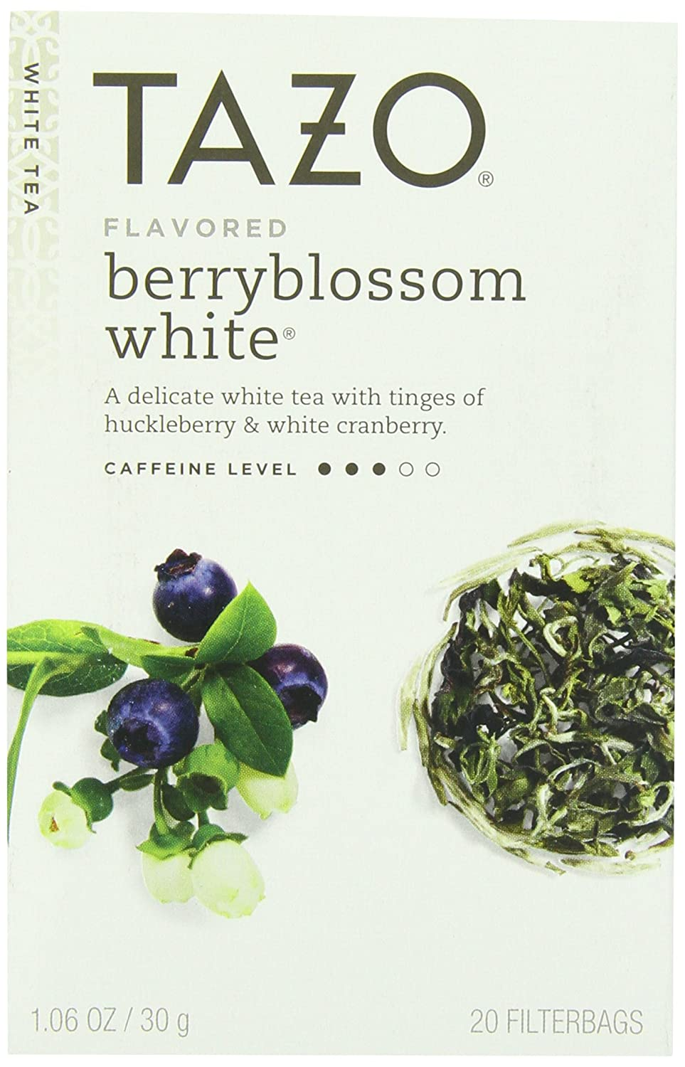 Tazo Berryblossom White Tea, 20-Count Tea Bags (Pack of 6)