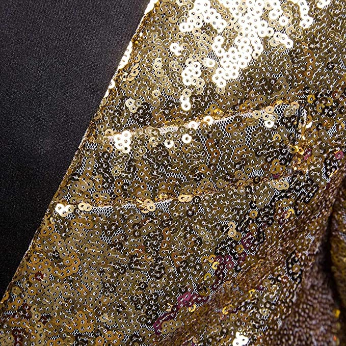 iLXHD Mens Shiny Sequins Suit One Button Jacket Blazer Party Wedding Tuxedo Brown at Amazon Mens Clothing store: