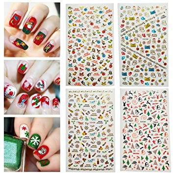 Amazon Com Dadiii Christmas Nail Stickers Art Tattoo Decals Self