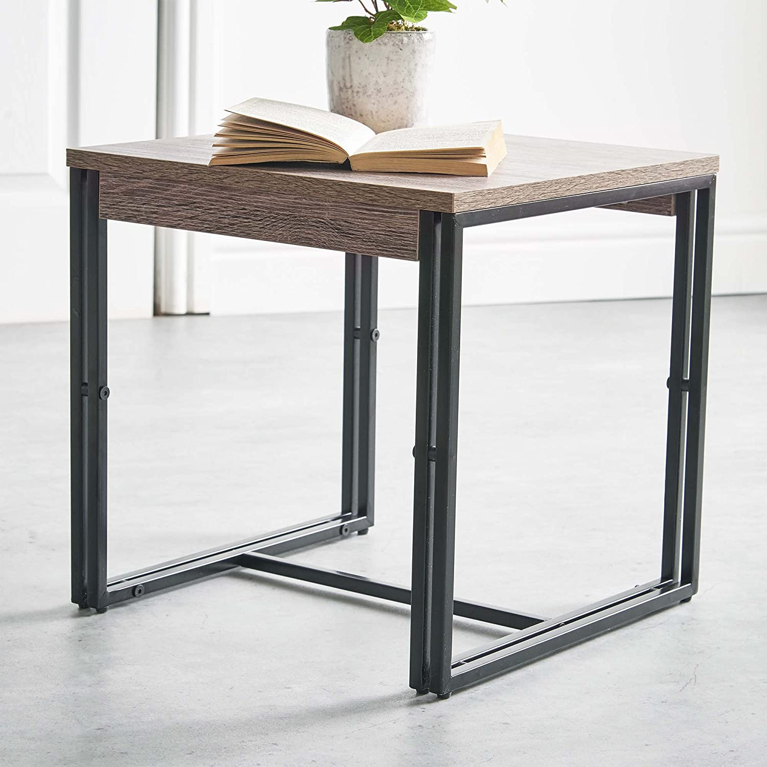 Sidetable 200 Cm Breed.Vonhaus Rustic Side Table Modern Industrial Design Wooden Effect End Table Nightstand Bedside Or Telephone Table Lounge Dining Or Living Room