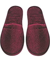 Arus Women's Turkish Organic Terry Cotton Cloth Spa Slippers One Size Fits Most, Burgundy with Black Sole