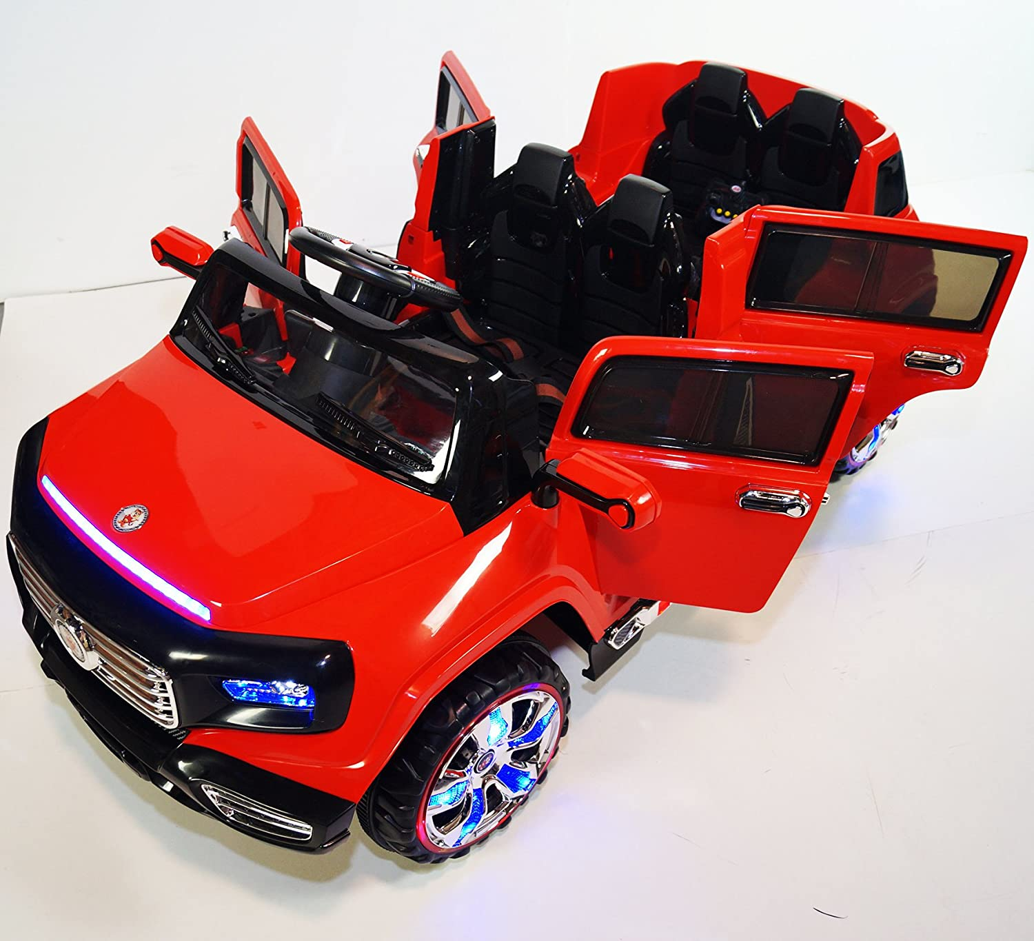 Stunning 2 seater Heavy Jeep Style 12v Battery Operated Ride on Car with Music, Lights, Doors, MP3 and Remote Control