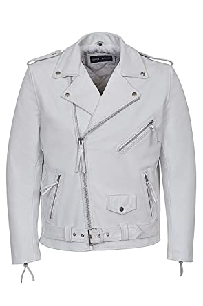 83d33ae2db8e Man White Brando Motorbike Real Cow Hide Leather Motorcycle Jackets: Amazon. co.uk: Clothing