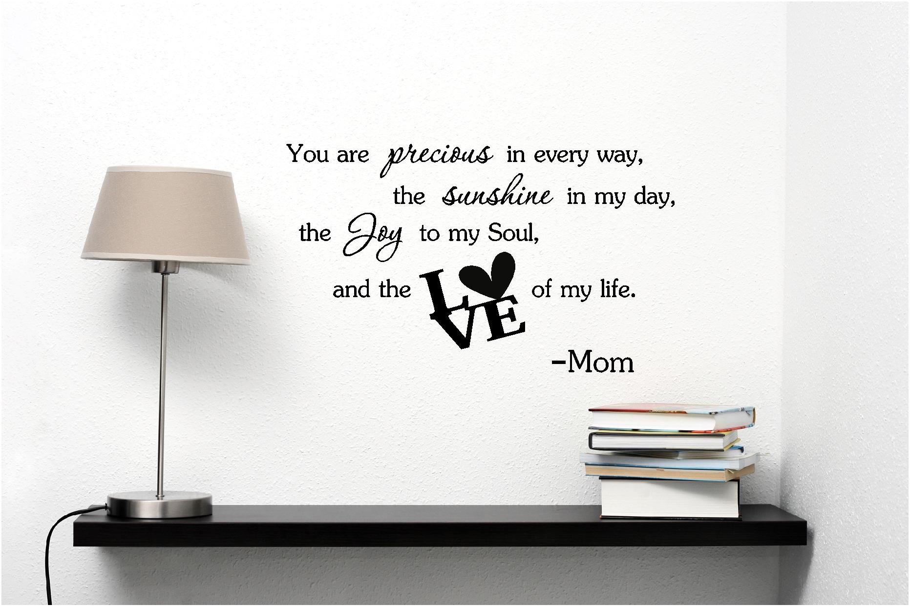 Epic Designs You are precious in every way, the sunshine in my day, the joy in my soul, and the love of my life. Mom cute baby nursery inspirational wall art sayings
